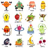 Funny Fruits Cartoon Set Stock Illustration