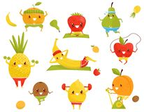 Funny fruits doing sports, sportive strawberry, pineapple, kiwi, banana, apple, orange, pear, kiwi cartoon characters. Doing fitness exercises vector vector illustration
