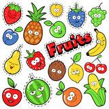 Funny Fruits Emoticons Badges, Patches, Stickers Royalty Free Stock Photo