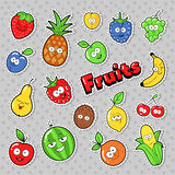 Funny Fruits Emoticons Badges, Patches, Stickers with Banana Apple Pear and Lemon Stock Image
