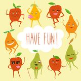 Funny fruits illustration. A set of funny dancing cartoon pears and apples with frame and text. Funny fruits illustration Stock Image