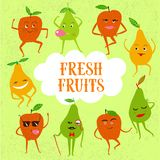 Funny fruits illustration. A set of funny dancing cartoon pears and apples with frame and text about fresh food on textured background. Funny fruits illustration Stock Photography