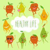 Funny fruits illustration. A set of funny dancing cartoon pears and apples with frame and text about healthy lifestyle. Funny fruits illustration Stock Photo