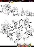Funny fruits set cartoon coloring page Stock Image