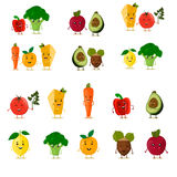 Funny fruits set. Cute fruits and vegetables collection. Cartoon food characters. Vector illustration. Isolated on white. Paprika, broccoli, tomato, lemon Royalty Free Stock Image