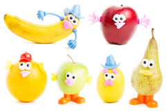 Funny fruits. Set of funny fruit characters isolated on white background Royalty Free Stock Image