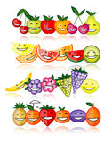 Funny fruits smiling together Royalty Free Stock Photo
