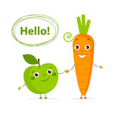 Funny fruits and vegetables with eyes in flat style Stock Photos