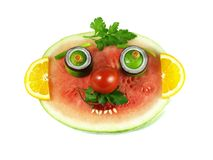 Funny fruity face, isolated Royalty Free Stock Photography