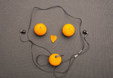 Funny fruity music player. Royalty Free Stock Photo