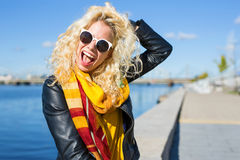 Funny and funky woman laughing Royalty Free Stock Image