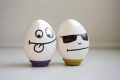 Funny and funny eggs. two eggs for Halloween stock image
