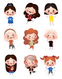 Funny funny kids with different hairstyles and hair color. Children spend their free time having fun and playing royalty free illustration