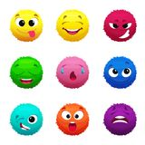 Funny furry faces of monsters. Puffy balls of different colors. Hair fur ball face, creative fluffy monster sphere, vector illustration Royalty Free Stock Photography
