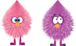 Funny furry monster vector design. Vector illustration of 2 funny characters with big eyes. One of them is pink an the other is purple Royalty Free Stock Photography