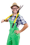 Funny gardener with shears isolated Royalty Free Stock Photography