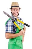 Funny gardener with shears Stock Image