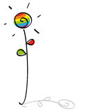 Funny gay flower. Cute gay flower with gay flag colors Stock Images