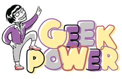 Funny geek boy. Funny boy with geek power lettering Royalty Free Stock Photo