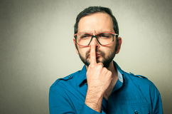 Funny geek with glasses Royalty Free Stock Photos