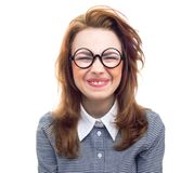 Funny geek or loony girl showing gritted teeth Stock Photo