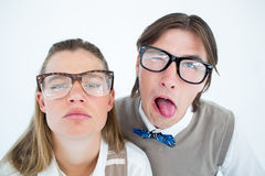 Funny geeky hipsters grimacing Royalty Free Stock Images
