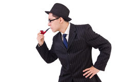 Funny gentleman in striped suit isolated on white Stock Images