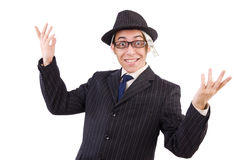 Funny gentleman in striped suit isolated on white Stock Image