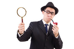 Funny gentleman in striped suit isolated on white Royalty Free Stock Photo