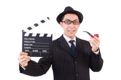 Funny gentleman in striped suit isolated on white Stock Photo