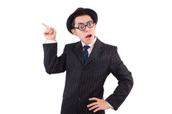 Funny gentleman in striped suit isolated on white Stock Photos