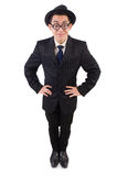 Funny gentleman in striped suit isolated on white Stock Photography