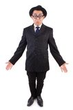 Funny gentleman in striped suit isolated on the Stock Photography