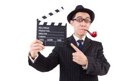 Funny gentleman in striped suit isolated on the Royalty Free Stock Photos
