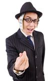 Funny gentleman in striped suit isolated on the Royalty Free Stock Images