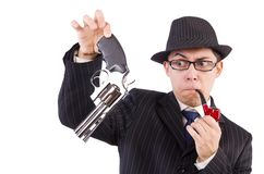 Funny gentleman in striped suit isolated on the Stock Image