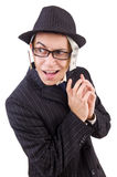 Funny gentleman in striped suit isolated on the Stock Photo