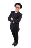 Funny gentleman in striped suit isolated on the Royalty Free Stock Photo