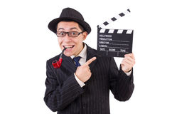 Funny gentleman in striped suit isolated on the Royalty Free Stock Image