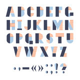 Funny geometric alphabet for poster or logo, vector illustration. Royalty Free Stock Photography