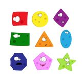 Funny geometric figures set with different colors. stock illustration