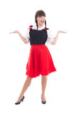 Funny german woman in typical bavarian dress dirndl Stock Image