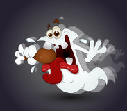 Funny Ghost. Conceptual Design Art of Funny Hungry Ghost Eating Chicken Vector Illustration Stock Photography