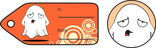 Sad ghost cartoon expression halloween giftcard Royalty Free Stock Photography