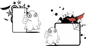 Funny ghost cartoon expression halloween copyspace set Stock Photos