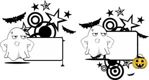 Angry ghost cartoon expression halloween copyspace set Royalty Free Stock Photo