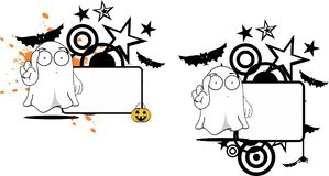 Cute ghost cartoon expression halloween copyspace set Royalty Free Stock Photography