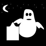 Funny Ghost Halloween night tombstone cemetery Royalty Free Stock Photo