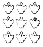 Ghosts. Funny ghosts with different emotions Royalty Free Stock Photography