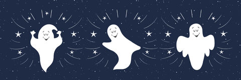 Funny ghosts flying in the night sky. Halloween card template. Stock Photos